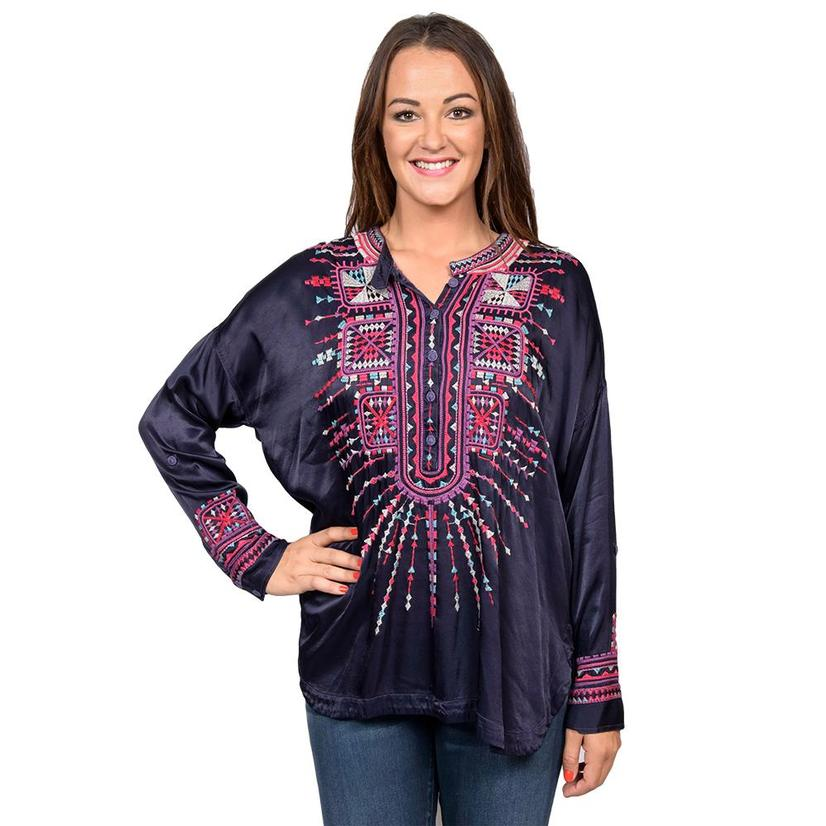 Johnny Was Faience Riverwash Navy Satin Blouse With Embroidery