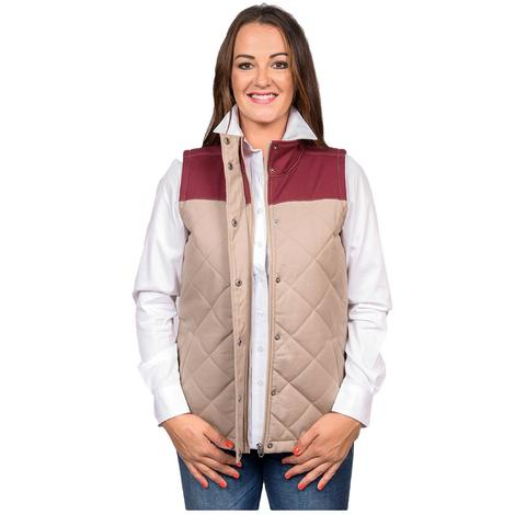 Cinch Womens Brown Maroon Block Quilted Vest