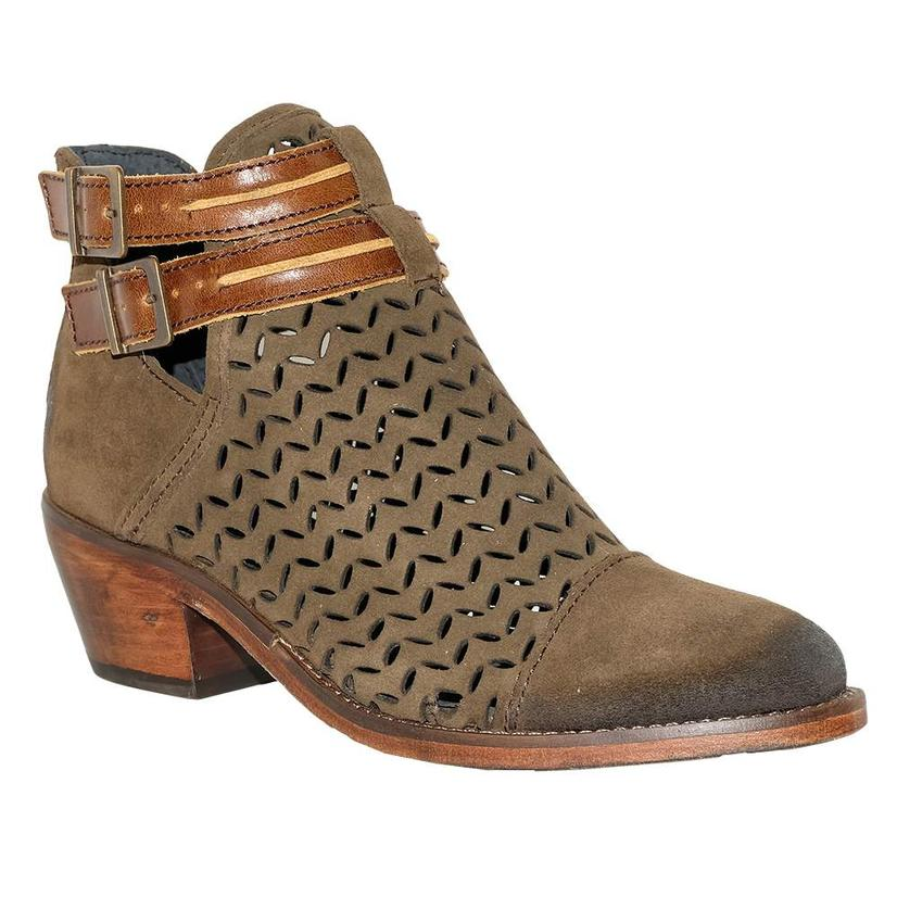 Circle G Olive Green Laser Cut Square Women's Boots