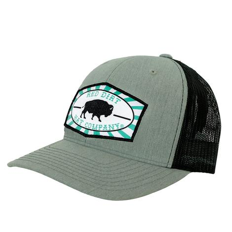 Red Dirt Hat Co Heather Grey Black Turquoise Buffalo Mesh Back Cap