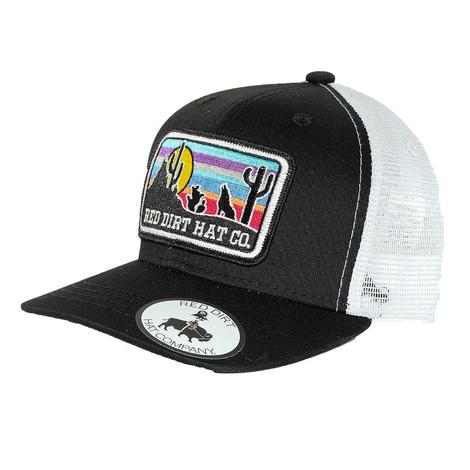 Red Dirt Hat Co Youth Coyote Black White Mesh Back Cap