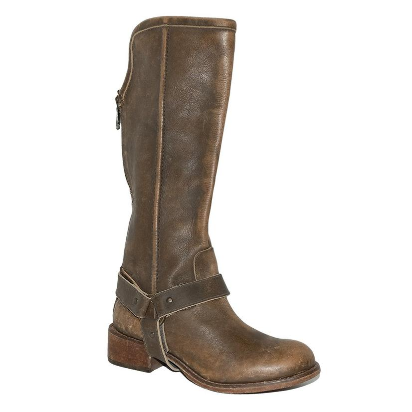 Circle G Womens Distressed Tall Brown Harness Strap Boots