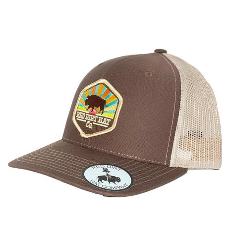 Red Dirt Hat Co Brown Khaki Red Red Dirt Buffalo Mesh Back Cap