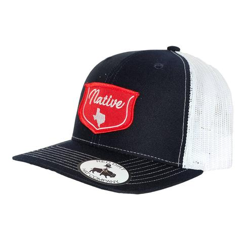 Red Dirt Hat Co Black White Red Native Patch Mesh Back Cap