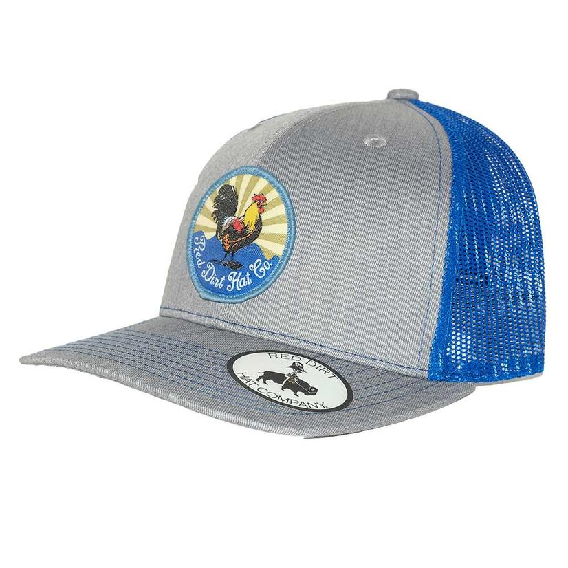 Red Dirt Hat Co Grey Blue Rooster Patch Mesh Back Cap