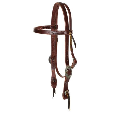 STT Leather Browband with Sweet Iron Conchos - 3/4inch