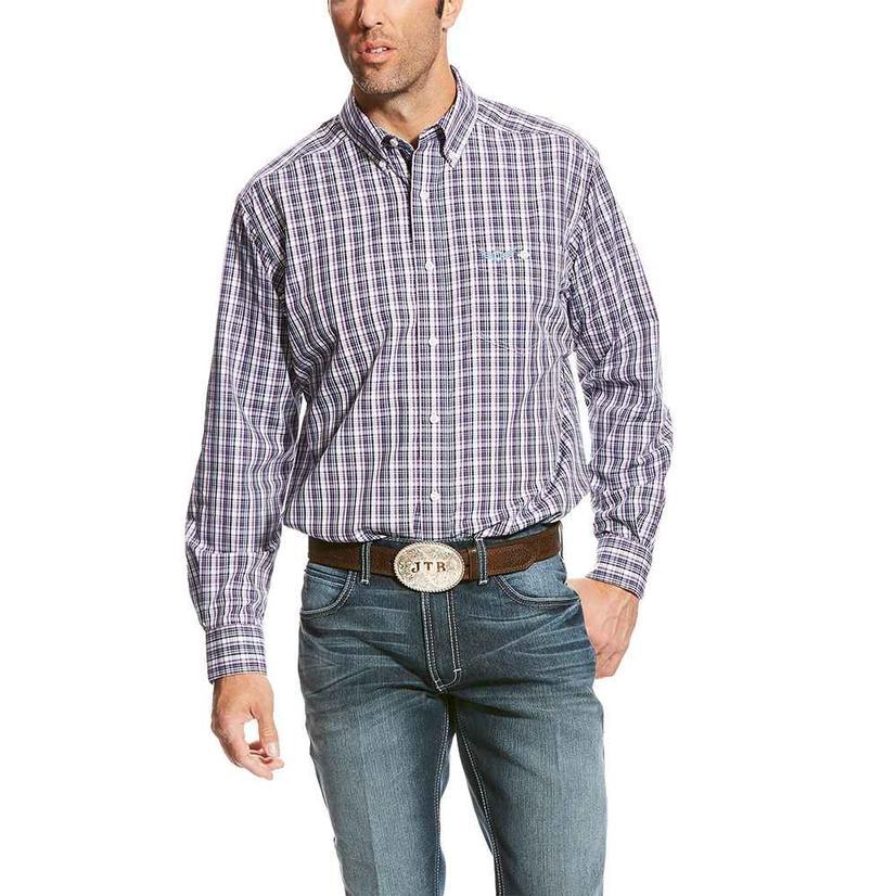 Ariat Mens Relentless Intensify Purple Plaid Long Sleeve Shirt