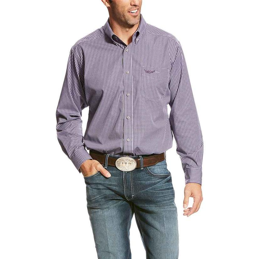 Ariat Mens Relentless Slick Purple Storm Plaid Long Sleeve Shirt