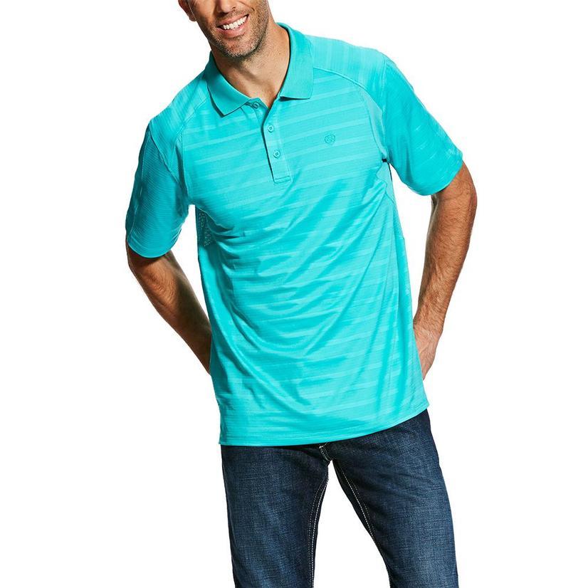 Ariat Ac Polo Ceramic Strip Turquoise Men's Shirt