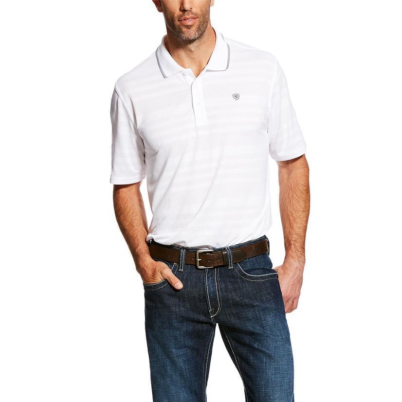 Ariat Edge Tek White Stripe Polo Men's Shirt