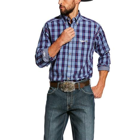 Ariat Relentless Blue Purple Plaid Command Long Sleeve Button Down Men's Shirt