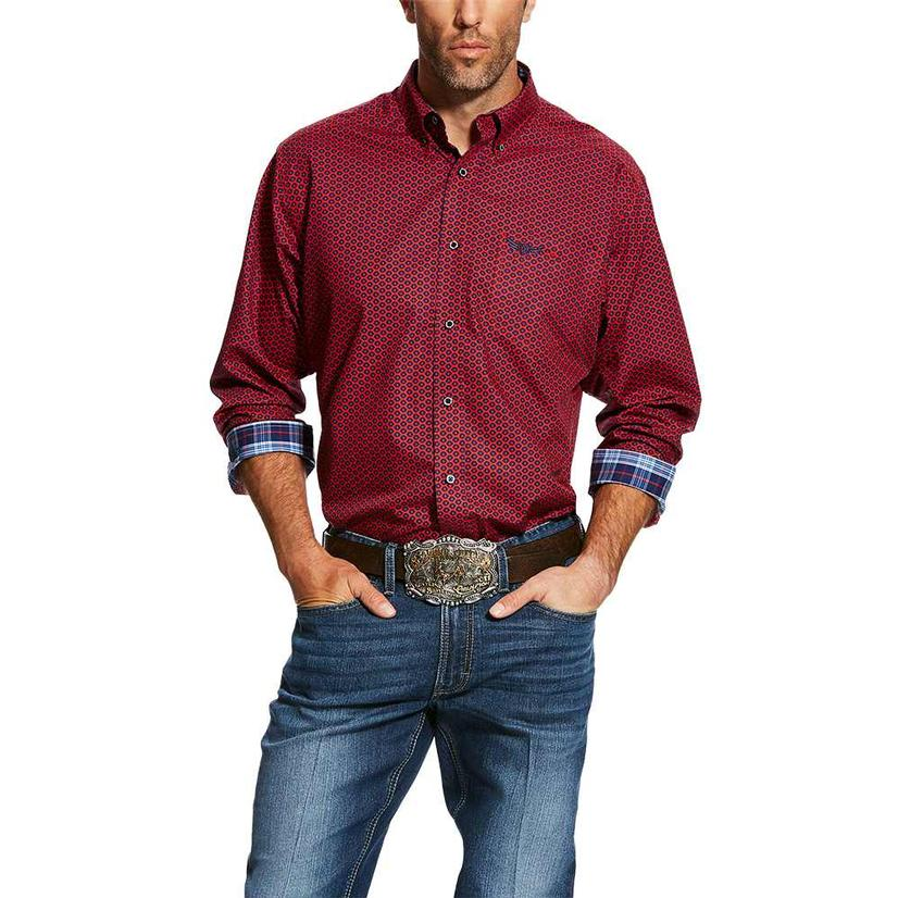 Ariat Relentless Commit Maroon Print Long Sleeve Men's Shirt