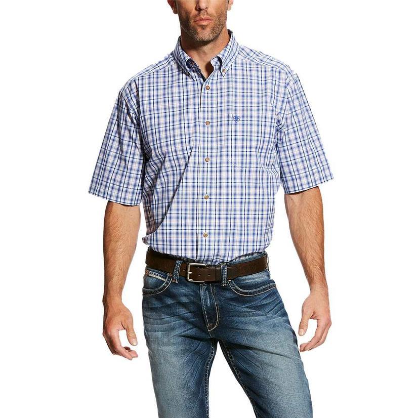 Ariat Gaffrey White Blue Plaid Short Sleeve Button Down Men's Shirt
