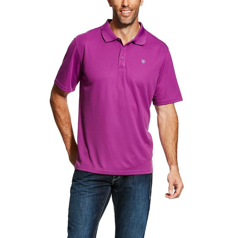 Ariat Mens Tek Polo Hidden Orchid Short Sleeve Shirt