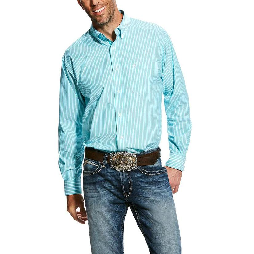 Ariat Griffith Aqua Stripe Long Sleeve Button Down Men's Shirt