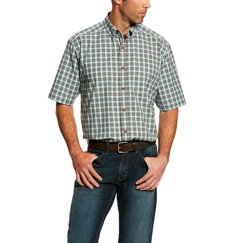 Ariat Hank Green Plaid Button Down Short Sleeve Men's Shirt