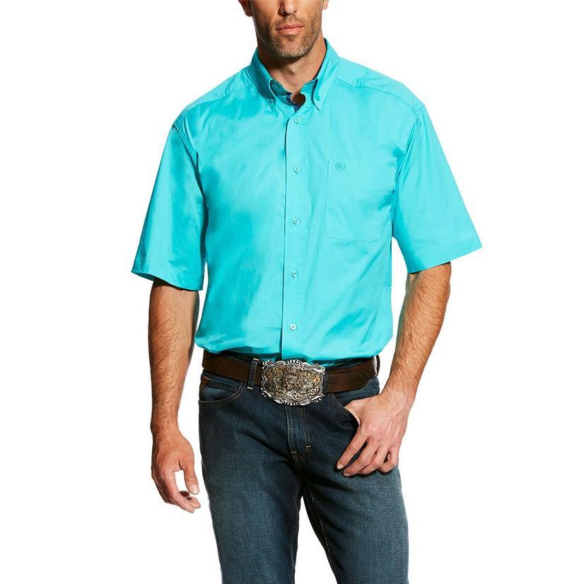 Ariat Solid Turquoise Poplin Short Sleeve Men's Shirt