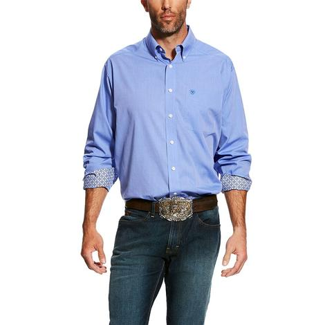 Ariat Mens Solid Pinpoint Blue Oxford Long Sleeve Shirt