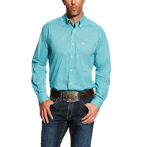 Ariat Harlowe Turquoise Stretch Print Long Sleeve Men's Shirt