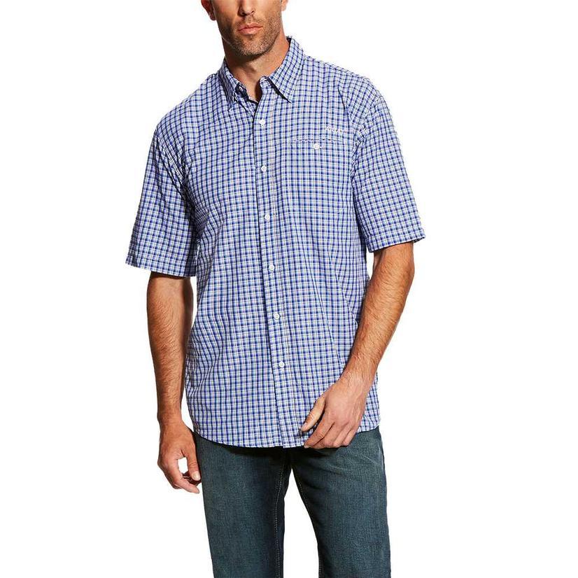 Ariat Mens Venttek Purple Plaid Short Sleeve Button Down Shirt