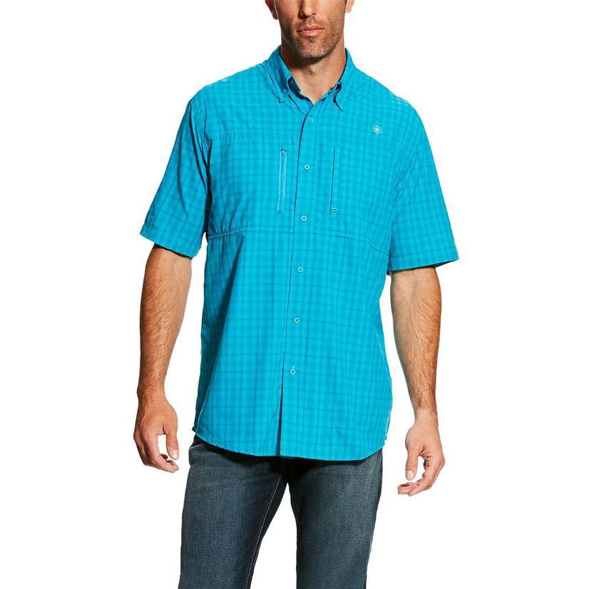Ariat Mens Venttek Bondi Pool Turquoise Plaid Short Sleeve Button Down Shirt
