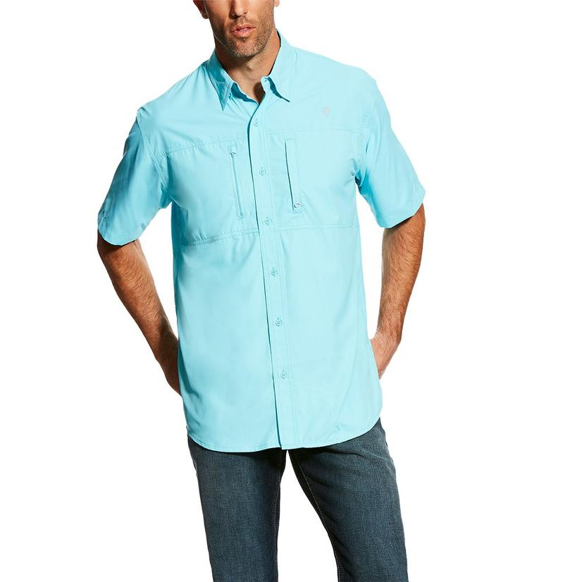 Ariat Mens Venttek Solid Short Sleeve Solid Teal Short Sleeve Button Down Shirt