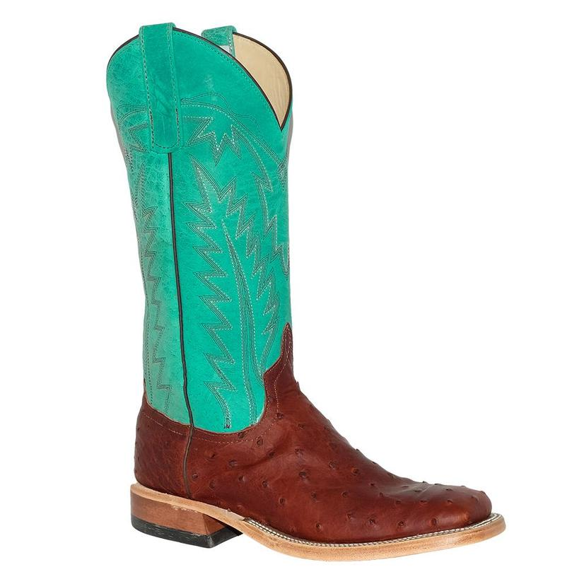 Anderson Bean Womens Brandy Ostrich Turquoise Boots