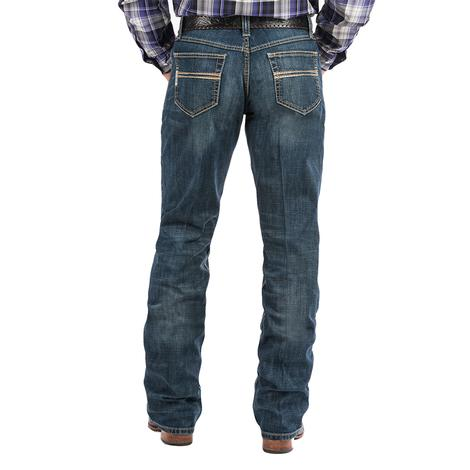 Cinch White Label Relaxed Mid Rise Straight Leg Men's Jeans - Med Stonewash