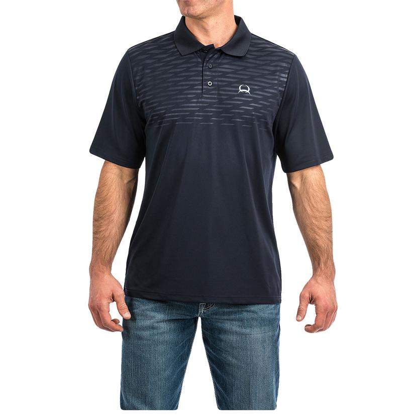 Cinch Navy Embossed Print Short Sleeve Men's Polo Shirt