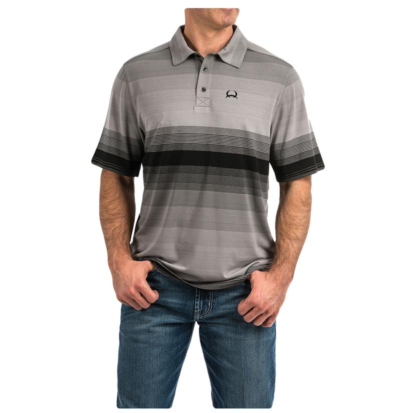 Cinch Grey Black Stripe Short Sleeve Men's Polo Shirt