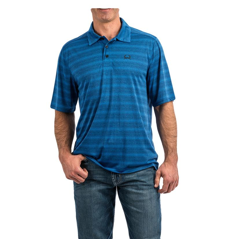 Cinch Blue Stripe Short Sleeve Men's Polo Shirt