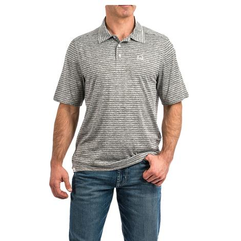 Cinch Heather Grey Stripe Short Sleeve Men's Polo Shirt