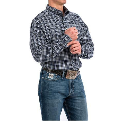 Cinch Navy White Plaid Long Sleeve Button Down Men's Shirt - Extended Sizes