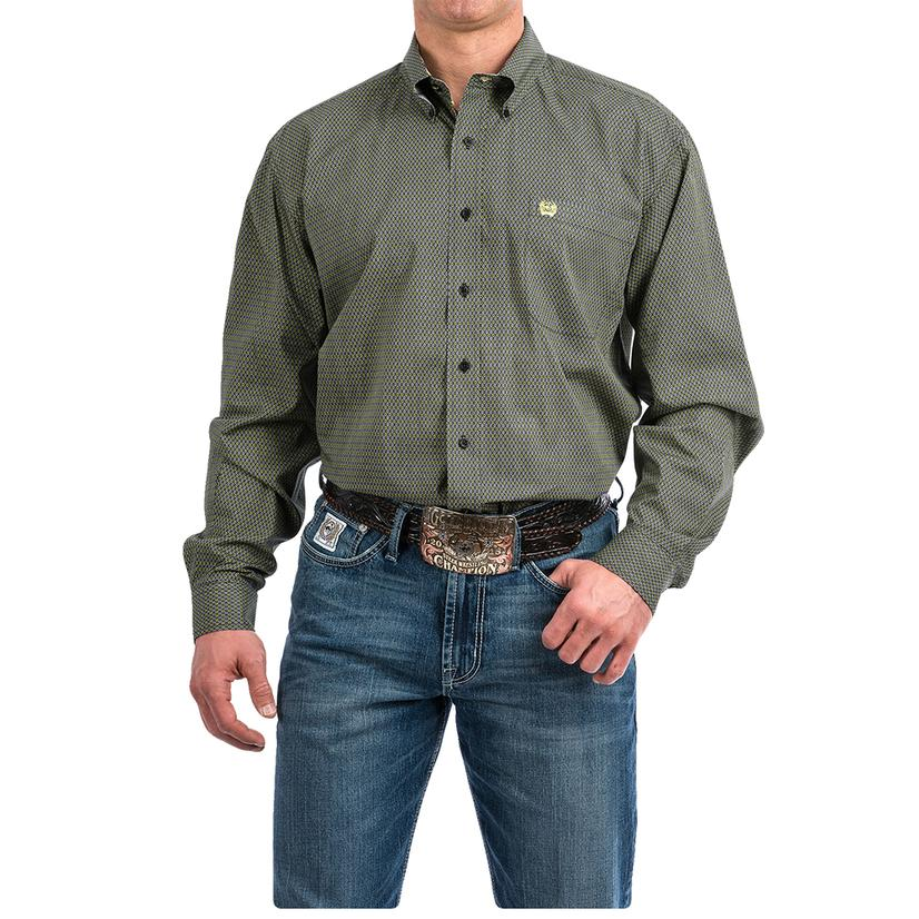 Cinch Black Green Diamond Print Long Sleeve Button Down Men's Shirt - Extended Sizes