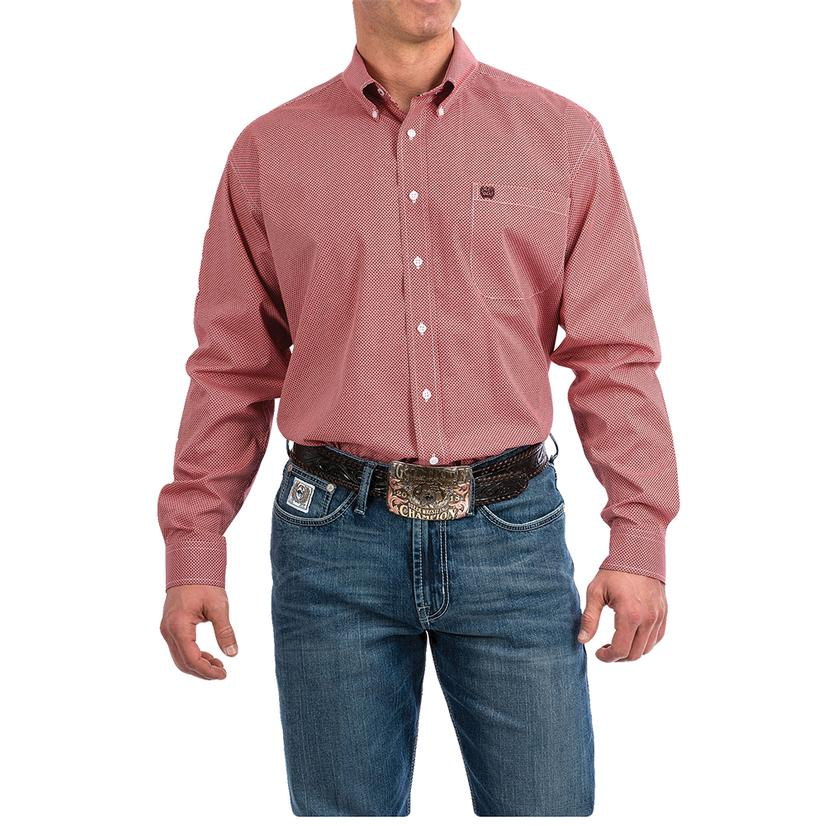 Cinch Coral Dash Print Long Sleeve Button Down Men's Shirt - Extended Sizes