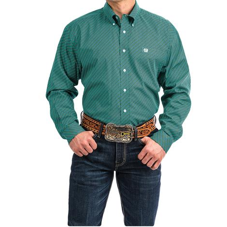 Cinch Turquoise and White Dotted Print Long Sleeve Men's Shirt - Exteneded Sizes
