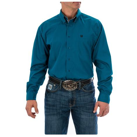 Cinch Mens Dark Teal Solid Long Sleeve Button Down Shirt