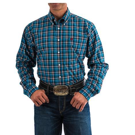 Cinch Mens Dark Teal Maroon Plaid Button Down Long Sleeve Shirt