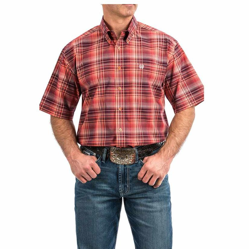 Cinch Coral Red Big Plaid Short Sleeve Button Down Men's Shirt