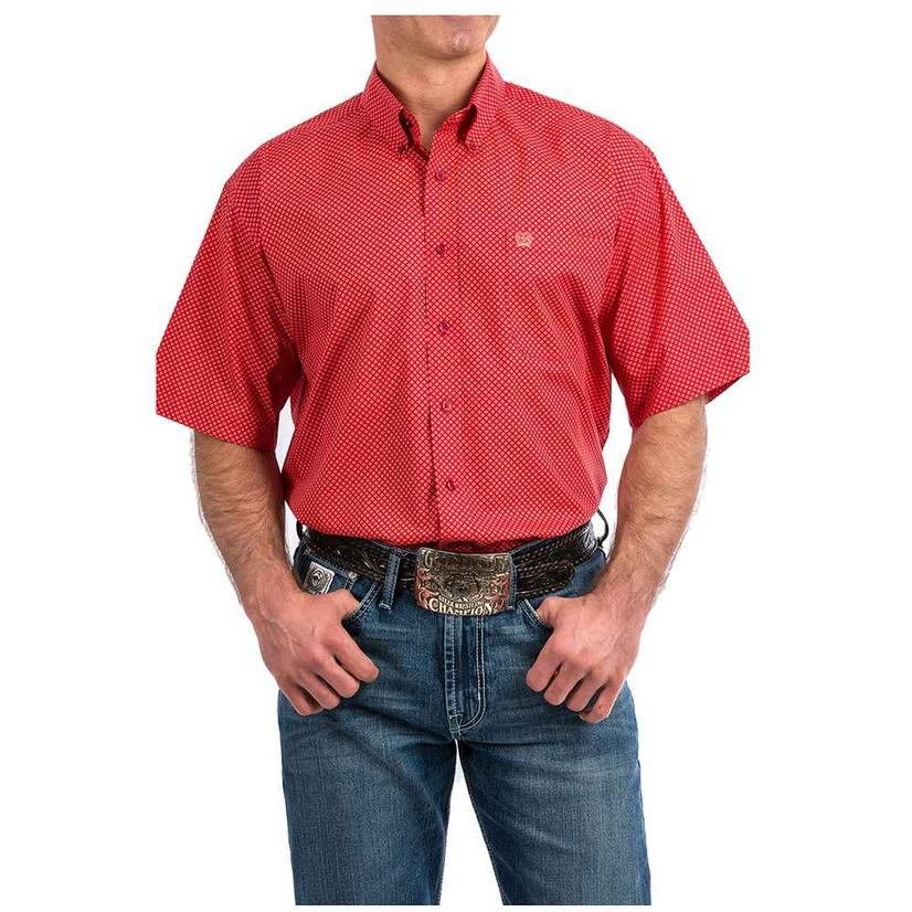 Cinch Coral Red Geo Print Short Sleeve Button Down Men's Shirt