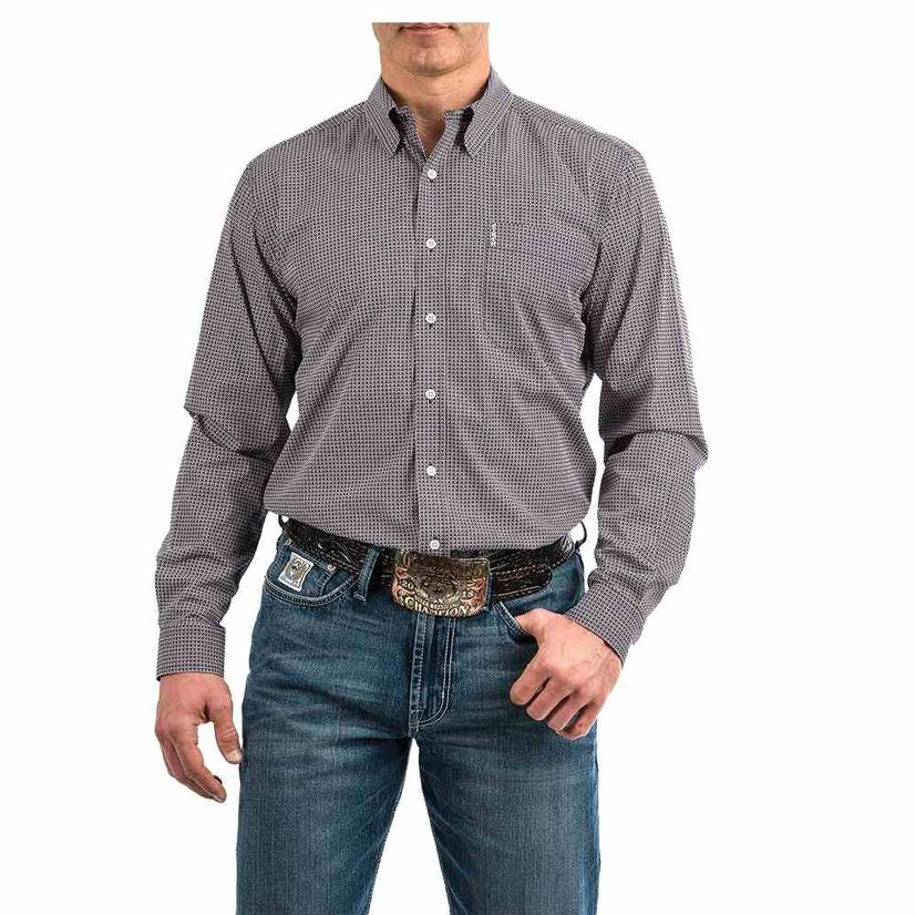 Cinch Purple Print Long Sleeve Button Down Men's Shirt