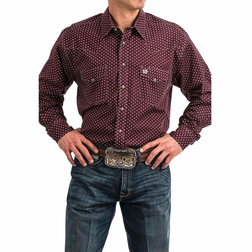 Cinch Dark Red Maroon Diamiond Print Snap Long Sleeve Men's Shirt