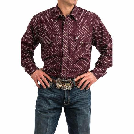 Cinch Dark Red Maroon Diamiond Print Snap Long Sleeve Men's Shirt