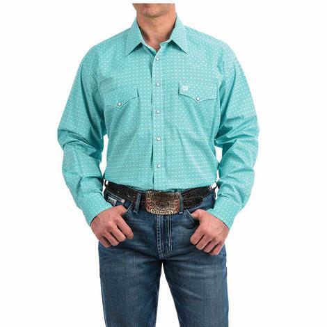 Cinch Turquoise White Print Long Sleeve Snap Men's Shirt