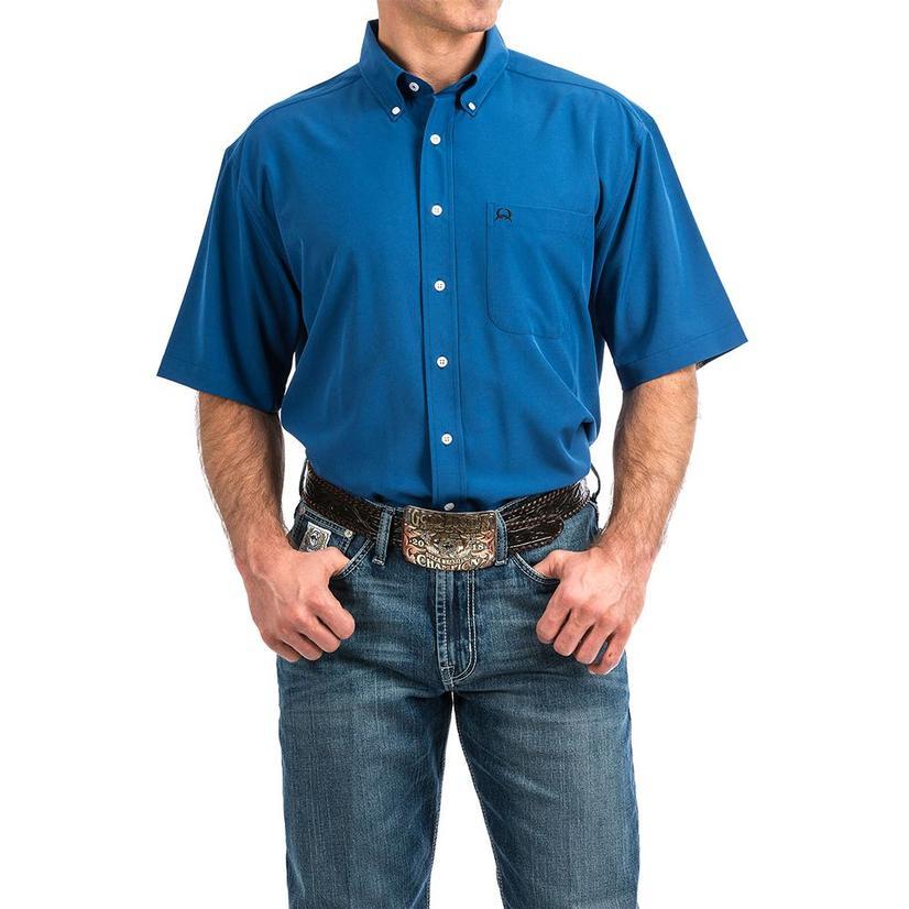 Cinch Blue Arena Flex Short Sleeve Button Down Men's Shirt