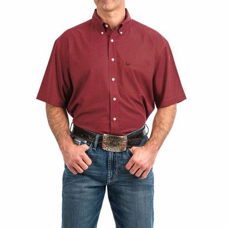 Cinch Red Circle Print Arena Flex Short Sleeve Button Down Men's Shirt