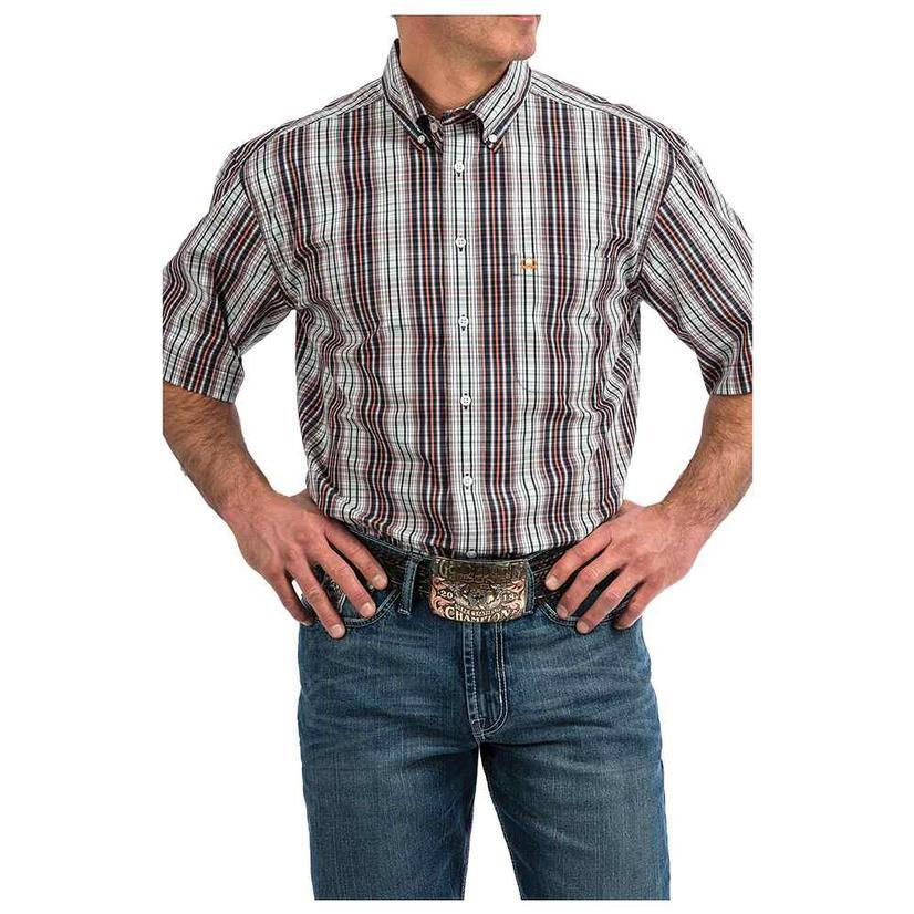 Cinch Black White Orange Plaid Arena Flex Short Sleeve Button Down Men's Shirt
