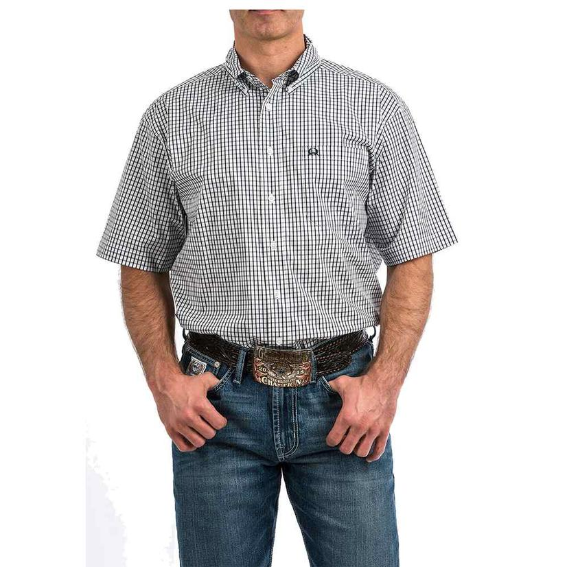 Cinch Black White Plaid Arena Flex Short Sleeve Button Down Men's Shirt