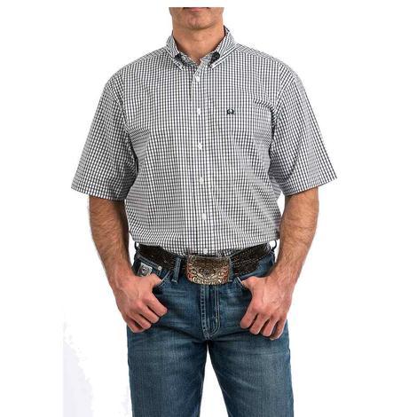 Cinch Black White Plaid Arena Flex Short Sleeve Button Down Men's Shirt
