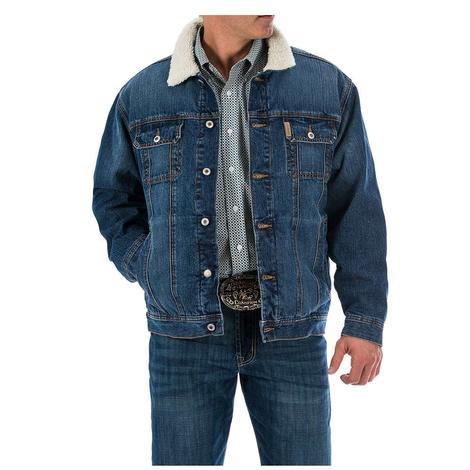 Cinch Mens Denim Sherpa Fleece Lined Button Front Jacket
